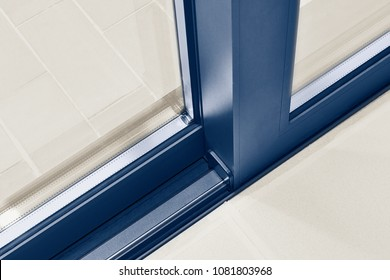 Digital artwork illustration of a Sliding glass door detail and rail embed in floor