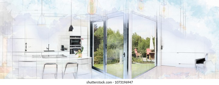 Digital Artwork of a Open modern kitchen from loft with view on a lush garden
