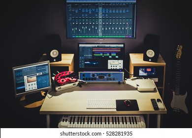 digital audio editing studio for TV broadcasting, spot ads, music recording, post production, film score composer