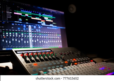 digital audio workstation equipment in recording, editing, broadcasting studio or live