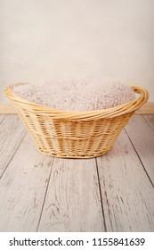 Digital background, basket on white wooden floor