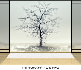 Digital background for studio photographers. Zen room with Lonely tree in fog background.