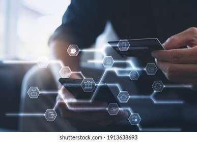Digital banking, internet payment, online shopping, digital marketing, financial technology Fintech, E-wallet concept. Man using smart phone and credit card for online shopping via mobile banking app