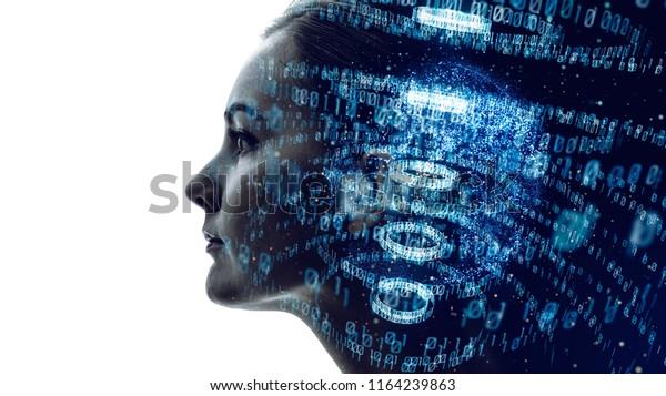 Digital binary code concept.