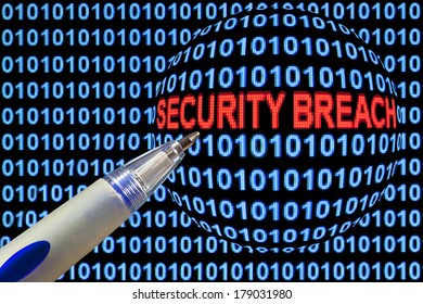 "Digital binary code on computer screen, pen pointing out ""security breach"" in red characters."