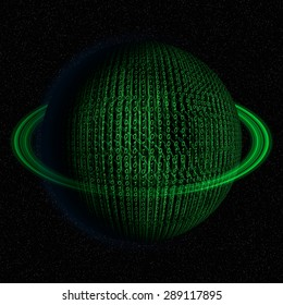 Digital, binary code, IT world planet abstract illustration in green color.