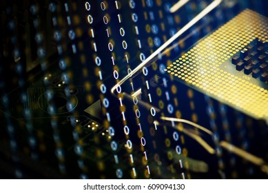 Digital binary data and computer processor. Cyber security concept background.