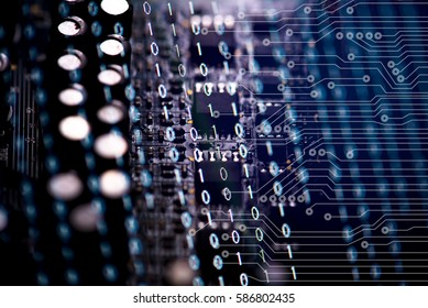 Digital binary data and electronic circuit board. Cyber security concept background.