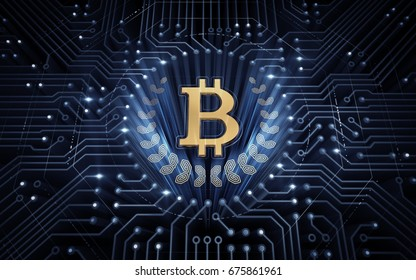 Digital Bitcoin. Bitcoin symbol in electronic cyberspace. 3D rendering image.