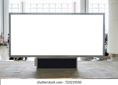Digital blank billboard with copy space for advertising, public information in airport hall blurred background