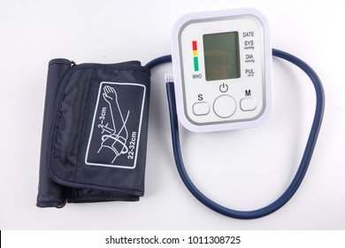 A digital blood pressure equipment isolated on white.