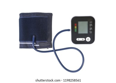 Digital blood pressure equipment isolated on whitewith clipping path.