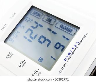 Digital blood pressure monitor. Close-up image.