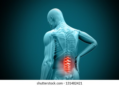 Digital blue human rubbing highlighted back pain on teal background