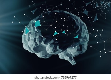 The digital brain and the grid connections of neurons. The concept of artificial intelligence and the limitless possibilities of the mind