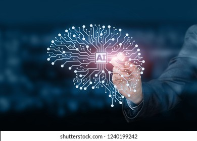A digital brain model consisting of the wireless connections with the card in the middle. The artificial intelligence