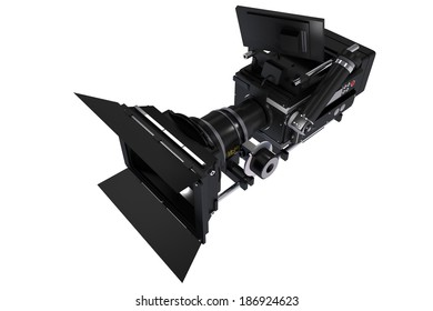 Digital Broadcast Camera 3D Illustration. Camera Isolated on White Background. Film Technology