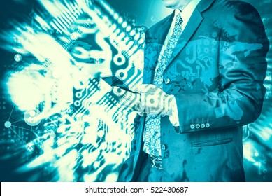 Digital business revolution concept. Double exposure of business man presenting  and abstract digital circuit background.
