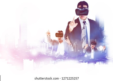 Digital business team put on a virtual reality glasses to simulate the work that is planned, System strategy of working in the modern world needs speed all the time work anywhere world with internet