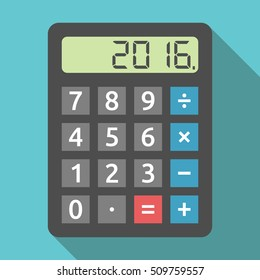 Digital calculator showing 2016 number. Finance, accounting, revenue, tax and results of year concept. Flat design