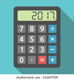 Digital calculator showing 2017 number. Planning, tax and accounting concept. Flat design