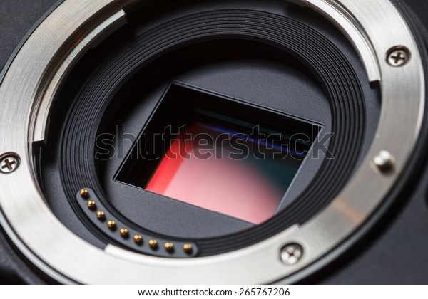 Digital Camera APS-C Sensor and lens mount close-up
