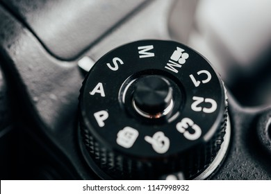 Digital Camera Control Dial Showing Aperture, Shutter Speed, Manual and Program Generic Modes