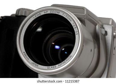 Digital camera lens detail closeup,  front view