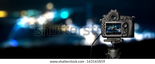 Digital camera the night view. Beautiful colors.