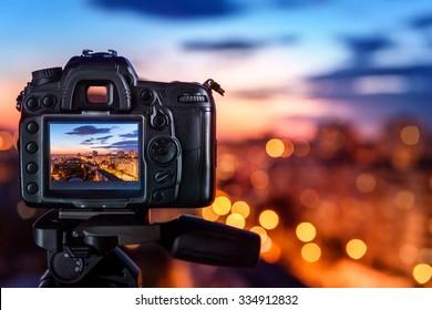 Digital camera the night view of city