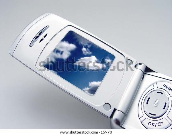 Digital Camera Phone with Photo of clouds on the screen, part of series
