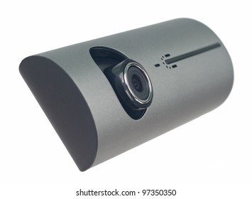 Digital camera for video and photos. Focus on lens. On the image camera without stand ( tripod). Object is isolated on white background without shadows.