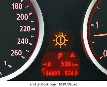 Digital car odometer in dashboard. Used vehicle with mileage meter. Numbers in kilometers