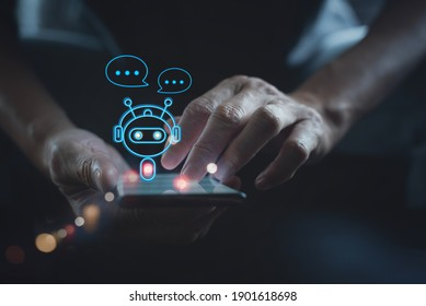 Digital chatbot, robot application, conversation assistant, AI Artificial Intelligence concept. Man using mobile smart phone, with digital chatbot on virtual screen and data in online network