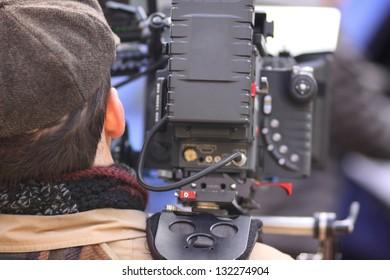 Digital cinema camera on a movie set.