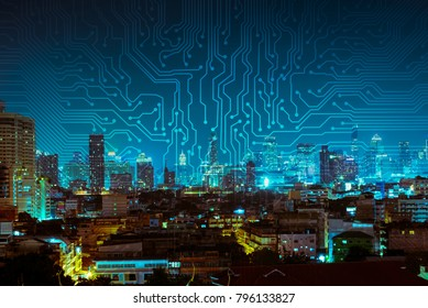 digital circuit line on blue night city background