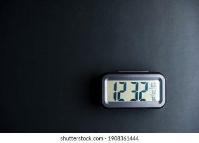 Digital clock on black background.