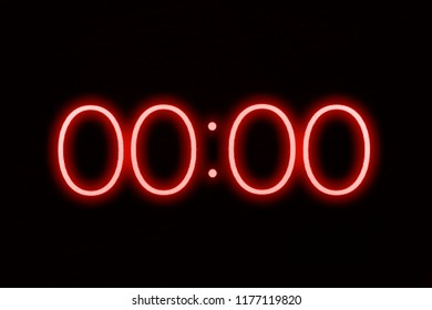 Digital clock timer stopwatch display showing 0 zero seconds remaining in glowing red numbers. Emergency, urgency, out of time concept.