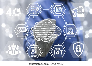 Digital cloud industry 4.0 integration concept. Man touched cloud 0 1 icon on virtual industrial screen on background of network IoT, BIG DATA, IT, AI, Computing, SERVER, VR, Robotic, 3d PRINTER icon.