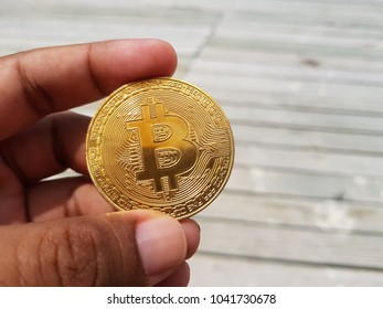 Digital coin with blur background