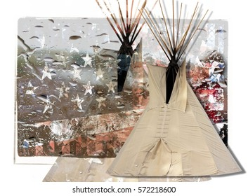 Digital Collage of a Native American Tipi in the Foreground and an American Flag with Water Droplets in the Background