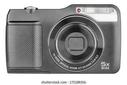 Digital compact camera closed lens isolated on white with clipping path