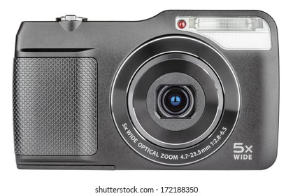 Digital compact camera with open lens isolated on white with clipping path