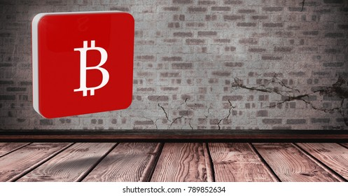 Digital composite of 3D Bitcoin icon in room