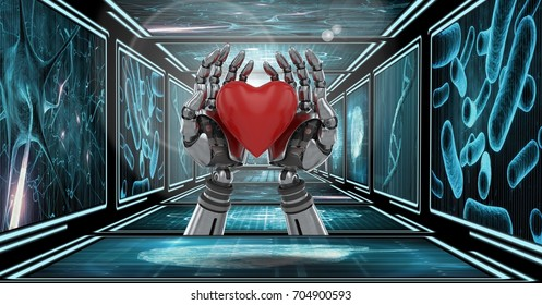 Digital composite of 3D robot hands holding heart in 3D corridor