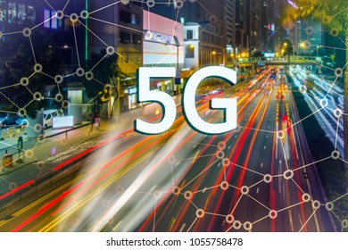 Digital composite of 5G with blurry modern city on the background. Asian busy city and High speed mobile web technology concept.