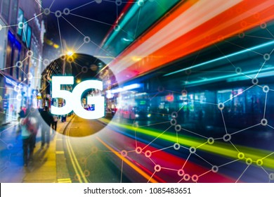 Digital composite of 5G with London night lights on the background.5G world summit event, High speed mobile web technology concept in London.
