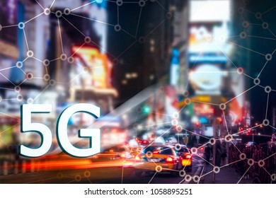 Digital composite of 5G with New York City night lights on the background. High speed mobile web technology concept