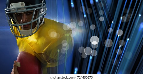 Digital composite of American football player with stadium transition