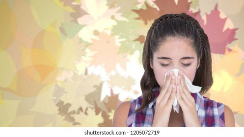 Digital composite of Autumn leaves and sick woman with flu